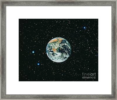 Apollo 17 View Of Earth With Starfield Framed Print