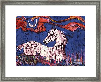 Appaloosa In Flower Field Framed Print