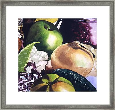 Apple And Onion Framed Print by Eunice Olson