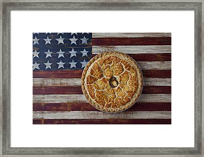 Apple Pie On Folk Art  American Flag Framed Print