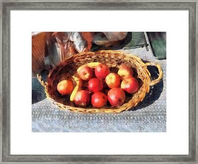 Apples And Bananas In Basket Framed Print