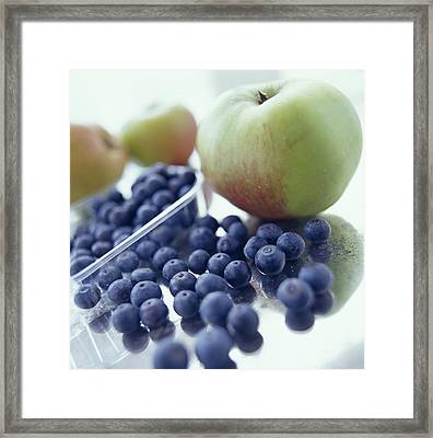 Apples And Blueberries Framed Print by David Munns