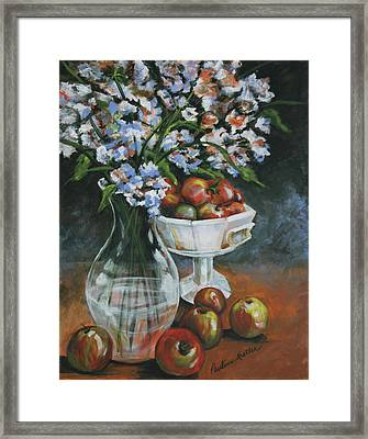 Apples And Flowers Framed Print