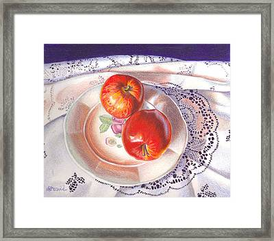 Apples And Lace Framed Print by Lidia Penczar