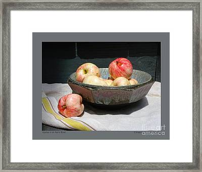 Framed Print featuring the photograph Apples In An Aerni Bowl by Patricia Overmoyer