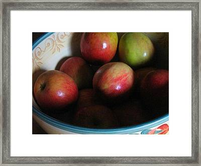 Framed Print featuring the photograph Apples In Ceramic Bowl by Deb Martin-Webster
