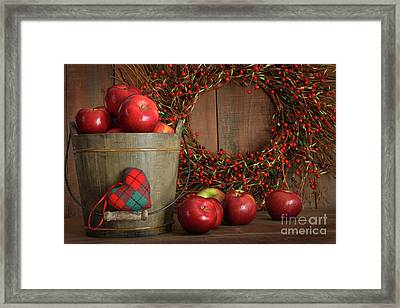 Apples In Wood Bucket For Holiday Baking Framed Print by Sandra Cunningham