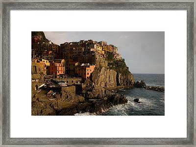 Approaching Storm  Manarola  Italy Framed Print