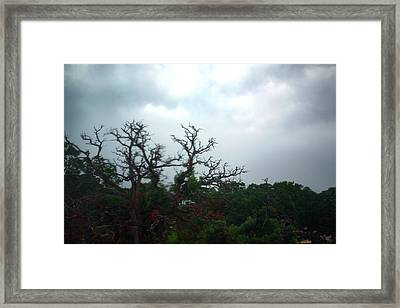 Framed Print featuring the photograph Approaching Storm Viewed Through My Rain Streaked Window by Lon Casler Bixby