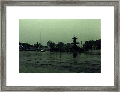 Framed Print featuring the photograph April Fog With Water Fountain by Louis Nugent