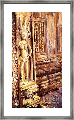 Apsara Bas-relief Framed Print by Ryan Fox