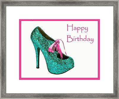 Aqua Glitter Birthday Shoe Framed Print by Maralaina Holliday
