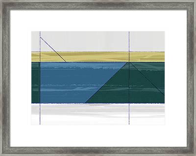 Aqua Green Triangles Framed Print by Naxart Studio
