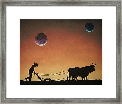 Framed Print featuring the painting Arado Con Bueyes II by Edwin Alverio