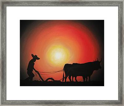 Framed Print featuring the painting Arado De Bueyes by Edwin Alverio
