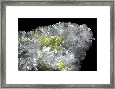 Aragonite Crystals With Sulphur Framed Print