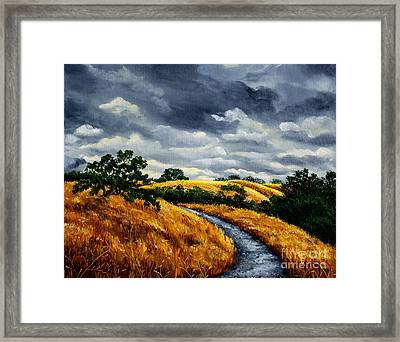 Arastradero Trail In Early Autumn Framed Print by Laura Iverson