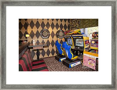 Arcade Game Machines At A Diner Framed Print