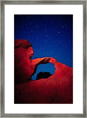 Arch In Red And Blue Framed Print by Rick Berk