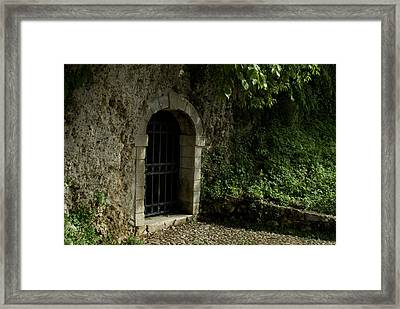 Arched Doorway With Iron Grate Framed Print by Todd Gipstein