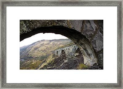 Framed Print featuring the photograph Arches And Mountains by Steve McKinzie