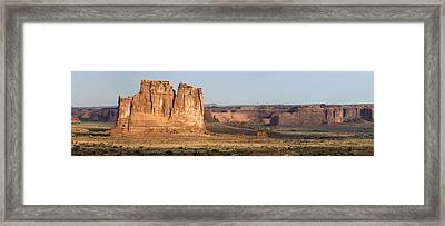 Framed Print featuring the photograph Arches National Park Large Panorama by Mike Irwin