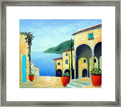 Framed Print featuring the painting Arches On The Riviera by Larry Cirigliano