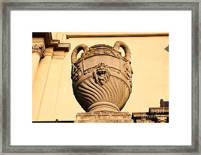 Architectural Detail . Large Urn With Lion Gargoyle  . Hearst Gym . Uc Berkeley . 7d10188 Framed Print by Wingsdomain Art and Photography