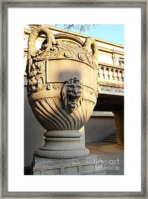 Architectural Detail . Large Urn With Lion Gargoyle  . Hearst Gym . Uc Berkeley . 7d10197 Framed Print by Wingsdomain Art and Photography