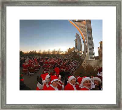 Architecture Chicago Cloud Gate With Santas Framed Print