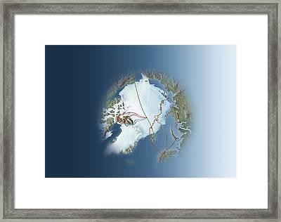 Arctic Exploration, Route Maps Framed Print by Mikkel Juul Jensen