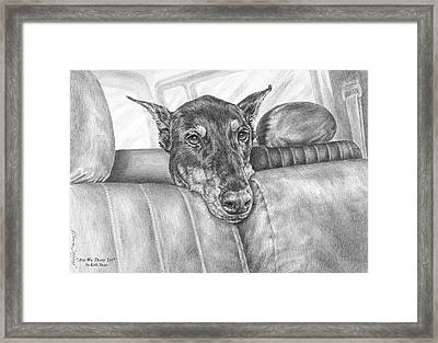 Are We There Yet - Doberman Pinscher Dog Print Framed Print by Kelli Swan