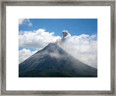 Framed Print featuring the photograph Arenal Eruption by Eric Tressler