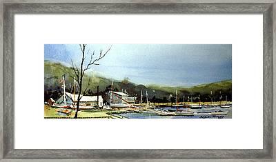 Areys Pond Boat Yard Framed Print
