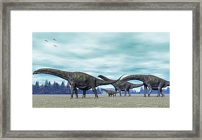 Framed Print featuring the digital art Argentinosaurus by Walter Colvin
