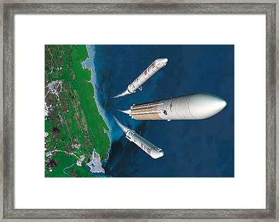 Ariane 5 Rocket Launch, Artwork Framed Print