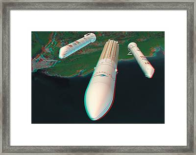 Ariane 5 Rocket Launch, Stereo Image Framed Print by David Ducros