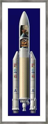 Ariane 5 Rocket With Ard, Artwork Framed Print by David Ducros