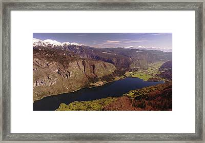 Framed Print featuring the photograph Ariel View Of Lake Bohinj Slovenia by Graham Hawcroft pixsellpix