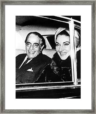 Aristotle Onassis And Maria Callas Framed Print by Everett