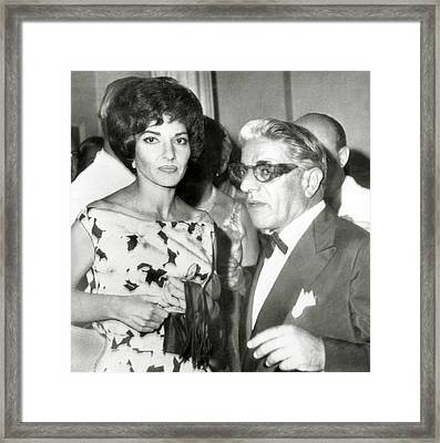 Aristotle Onassis, With Opera Star Framed Print by Everett