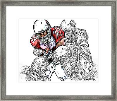 Arizona Cardinals Chester Taylor Seattle Seahawks David Hawthorne Clinton Mcdonald And Red Bryant Framed Print by Jack K