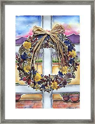 Arizona Wildflower Wreath Framed Print by Regina Ammerman