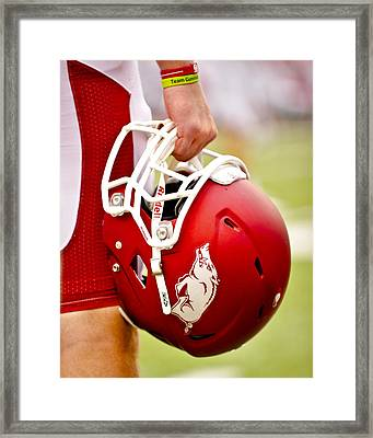 Arkansas Razorback Helmet Framed Print by Replay Photos