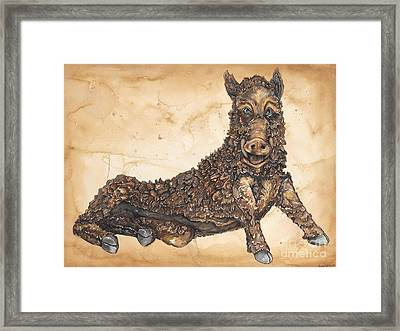 Arkansas Razorback Mascot Framed Print by Annie Laurie