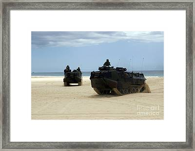 Armored Assault Vehicles Performing Framed Print by Stocktrek Images