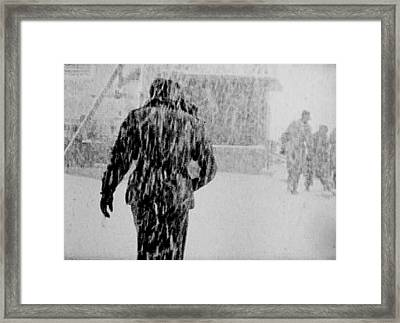 Army Base Snowstorm Framed Print by Dale Stillman