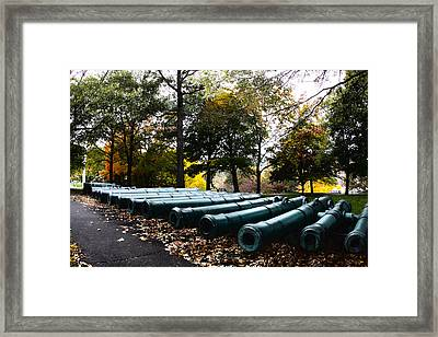 Army Cannons In A Row Framed Print by Army Athletics