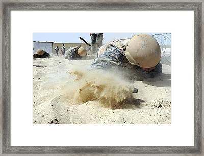 Army Soldier Pulls Himself Framed Print by Stocktrek Images