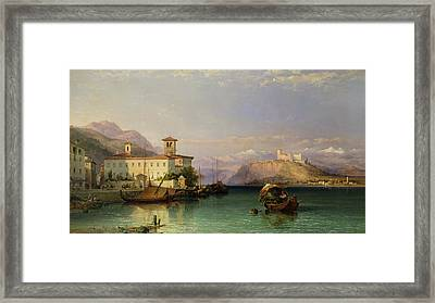 Arona And The Castle Of Angera Lake Maggiore Framed Print by George Edwards Hering